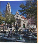 Five Points Fountain Wood Print