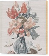 Five Prints With Flowers In Glass Vases, Anonymous, After Jean Baptiste Monnoyer, 1688 - 1698 Wood Print
