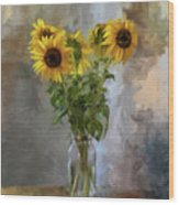 Five Sunflowers Centered Wood Print by Lois Bryan