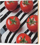 Five Tomatoes  Wood Print by Garry Gay
