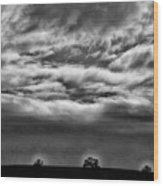 Five Trees In Clouds Wood Print