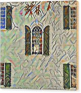 Five Windows Watercolor Wood Print