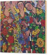Five Women And The Iris Wood Print