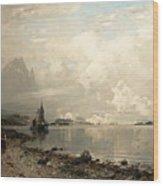 Fjord Landscape With Figures Wood Print