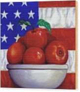 Flag And Apples Wood Print