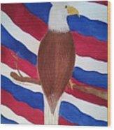 Flag And Eagle Wood Print