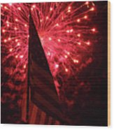 Flag And Fireworks Wood Print