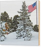 Flag And Snowy Pines Wood Print