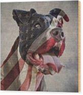 Flag Dog Wood Print