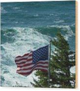 Flag Flying Wood Print