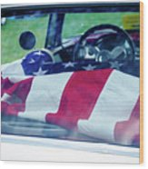 Flag In The  1955 Chevy Bel Air Wood Print