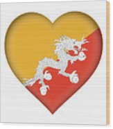 Flag Of Bhutan Heart Wood Print