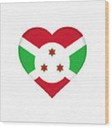 Flag Of Burundi Heart Wood Print