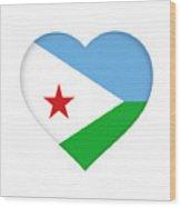 Flag Of Djibouti Heart Wood Print