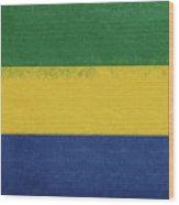 Flag Of Gabon Grunge. Wood Print
