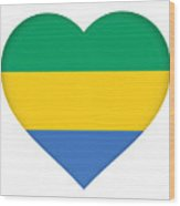 Flag Of Gabon Heart  Wood Print