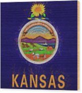 Flag Of Kansas Grunge Wood Print