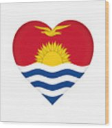 Flag Of Kiribati Heart Wood Print
