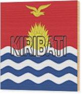 Flag Of Kiribati Word Wood Print