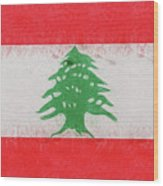 Flag Of Lebanon Grunge Wood Print