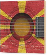 Flag Of Macedonia On An Old Vintage Acoustic Guitar Wood Print