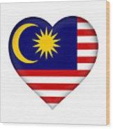 Flag Of  Malaysia Heart Wood Print