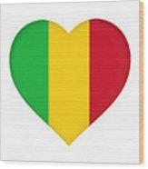 Flag Of  Mali Heart  Wood Print