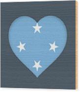 Flag Of Micronesia Heart Wood Print