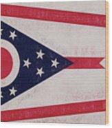 Flag Of Ohio Grunge Wood Print