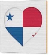 Flag Of Panama Heart  Wood Print