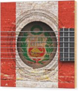 Flag Of Peru On An Old Vintage Acoustic Guitar Wood Print