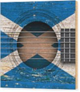 Flag Of Scotland On An Old Vintage Acoustic Guitar Wood Print