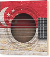 Flag Of Singapore On An Old Vintage Acoustic Guitar Wood Print