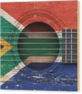 Flag Of South Africa On An Old Vintage Acoustic Guitar Wood Print