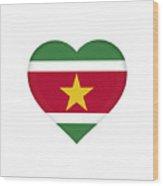 Flag Of Suriname Heart  Wood Print