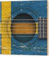 Flag Of Sweden On An Old Vintage Acoustic Guitar Wood Print