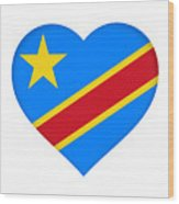 Flag Of The Congo Heart Wood Print