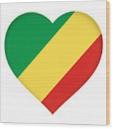 Flag Of The Republic Of The Congo Heart Wood Print