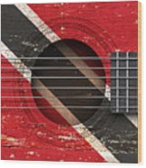 Flag Of Trinidad And Tobago On An Old Vintage Acoustic Guitar Wood Print