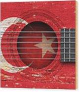 Flag Of Turkey On An Old Vintage Acoustic Guitar Wood Print