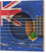 Flag Of Turks And Caicos On An Old Vintage Acoustic Guitar Wood Print