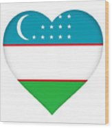 Flag Of Uzbekistan Heart Wood Print