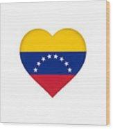Flag Of Venezuela Heart  Wood Print