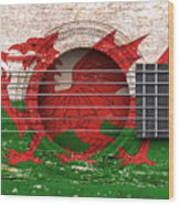 Flag Of Wales On An Old Vintage Acoustic Guitar Wood Print