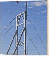 Flag On Perkins Cove Bridge - Maine Wood Print