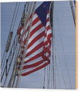 Flag Tall Ship Wood Print