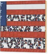 Flag Two Wood Print