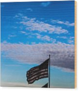 Flag With The Clouds Wood Print