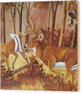 Flagging Deer Wood Print