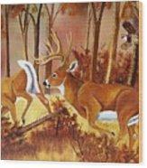 Flagging Deer Wood Print